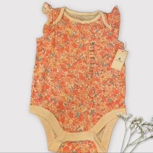 NWT 6-12 Month Baby One Piece Cream Flower Pattern